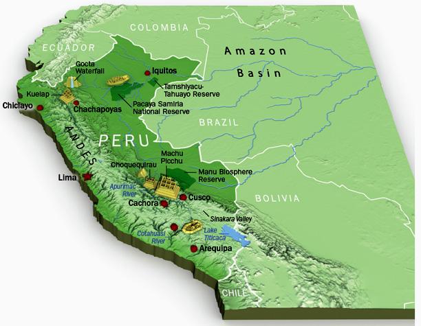 Explore Peru from Campo Serio to Tacna – Peru Travel Map