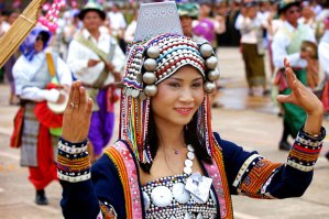 Lao Girl Wearing Traditional Attire