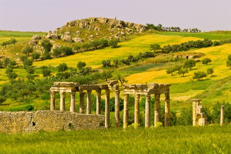 Temple of Juno Caelestis, Roman archeological ruins, Dougga, Tunisia